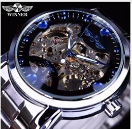 Top Winner Blue Ocean Fashion Casual Designer Stainless Steel Men Skeleton Watch Mens Watches Top Br