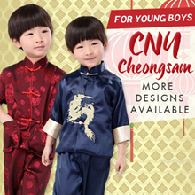 SG Ready stocks Children CNY Cheongsam Top+Pants young boy 男童唐装 Kids Traditional Racial Harmony