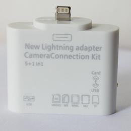 iPad mini/iPad4 iOS6.0専用Lightning to SD/MicroSD/MMC/MS/M2/USB カメラコネクションキット 5in1