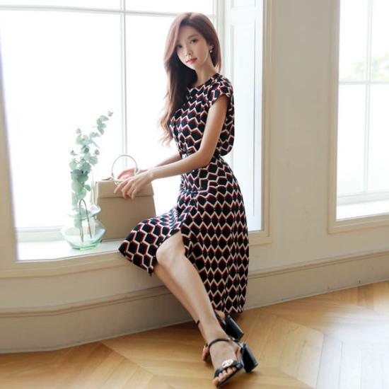 スタイルオンミハニー捺染スリットワンピース 塔/袖なしのワンピース/ 韓国ファッション