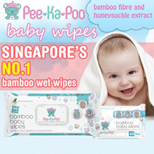 [Bundle of 5] Pee-Ka-Poo 80 pcs Baby Wipes With Bamboo Fibre and Honeysuckle Extract