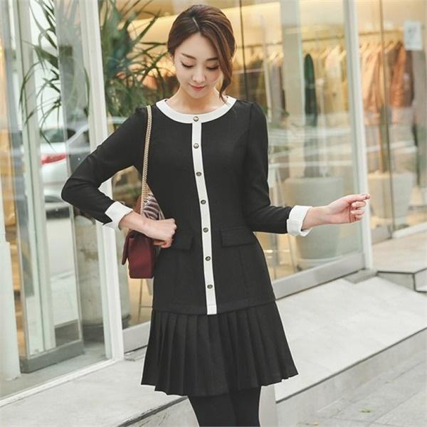・プリーツ配色ワンピースDRH472 無地ワンピース/ワンピース/韓国ファッション