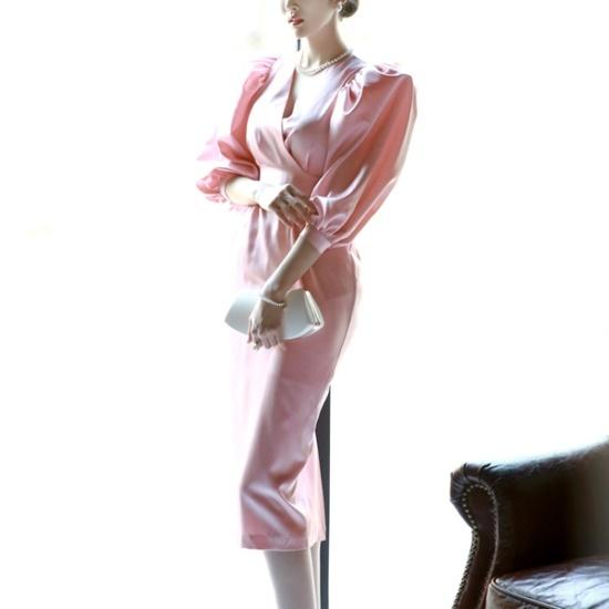 ディントゥD3425のロレーナ・パフラップワンピース 綿ワンピース/ 韓国ファッション
