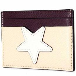 9555a9cb71b Coach Card Case COACH Outlet Star Cross Grain Leather Flat Card Case F11723  SVCAH