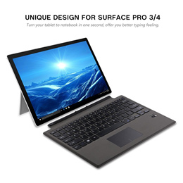 Ultra-slim Aluminum Wireless Bluetooth Keyboard for Microsoft Surface Pro 4 12.3 with PU Leather Protective Case