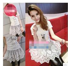 LYQ/Europe new Korean fashion clothing style 2015 Lace Waist sweet false two dresses