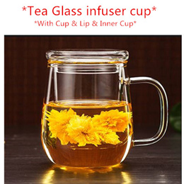 ❤Tea Glass infuser cup/Thickened glass cup/ flower tea cup /with lid and Inner / office filter cup❤