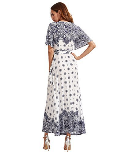 Floerns Women s Bohemian Short Sleeve Vintage Print Split Wrap Maxi Dress White M