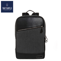 WiWU Gray GENUINE LEATHER Women Mens Computer Backpack 14 15.4 15.6 Inch Bag for Dell 14 Waterproof
