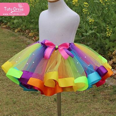 493cde4667 Kids Lovely Handmade Colorful Tutu Skirt Girls Rainbow Tulle Tutu Mini skirt