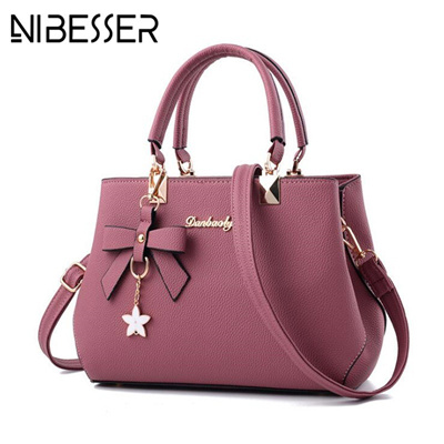 4c962ef51b55 NIBESSER 2018 Elegant Shoulder Bag Women Designer Luxury Handbags Women Bags  Plum Bow Sweet Messenge