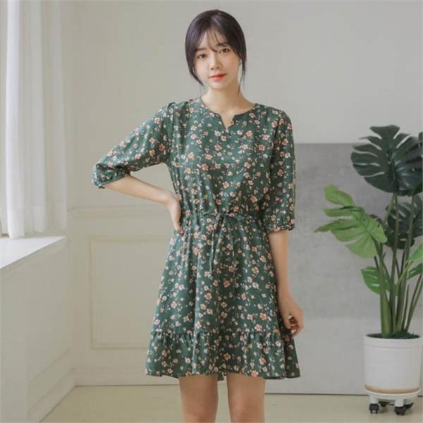 ジャストウォンつつじフリルのワンピースnew プリントワンピース/ワンピース/韓国ファッション