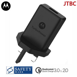 Quick Charge 3.0 USB Charger 18W Motorola Wall Charger UK Plug with Safety Mark (OEM Pack) - 1 Year