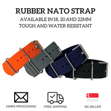 Rubber Nato Strap in 18mm 20mm and 22mm - (Free Local Postage)