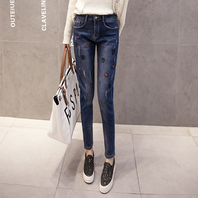 edde3cafbf8 Fat MM big size Real spot jeans Women 2017 new Korean version of high waist  plus