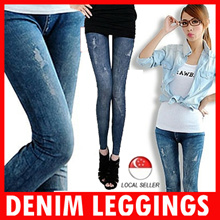 Denim Leggings Pants Jeans Fashion Etc CNY Sales Sexy Skinny Slim Tights for Woman Girls Cotton