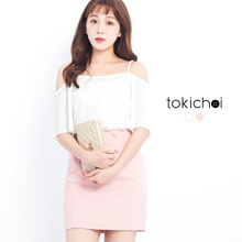 TOKICHOI - Off Shoulder Top with Pleated Sleeves-170666