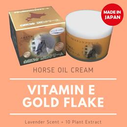 Japan Horse Oil Cream Premium GOLD Flake / Foil Q10 Vit. E Lavender Anti-age Absorb Fast Non-Oily