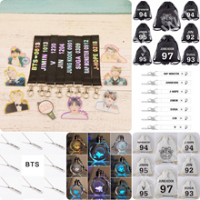 BTS BANGTAN BOYS BULLETPROOF KPOP LIGHT KEYCHAIN NAME NECKLACE LANYARD STRAP BAG