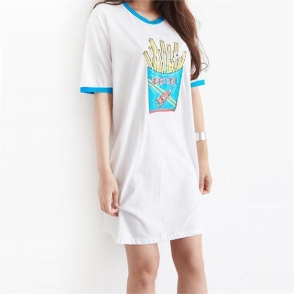 リトル・ポテト・プリンティングワンピースops753new プリントワンピース/ワンピース/韓国ファッション