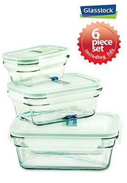 GlassLock Snaplock Lid Tempered Glasslock Storage Containers 6pc set Rectangle~Microwave Oven Safe