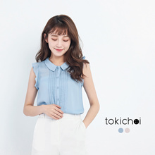 TOKICHOI - Ruffled Yoke Blouse with Pleated Front-170702