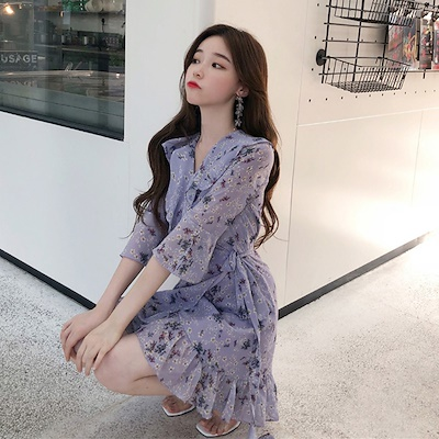 a2c4549a8622 Autumn dress female 2018 new Korean style temperament chic chiffon floral  ruffled one-piece v