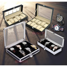 Aluminium / PU Premium Leather Watch Slot Case Display  Storage Box 6 10 12 slots Organizer