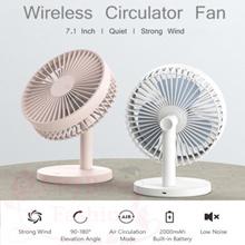 Original 180° Wireless Circulator Desk Fan 3 Level Strong Wind Rechargeable Large 7.1 inch Long Last