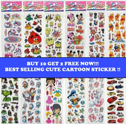 🙉 [Buy 10 Get 2 Free] Cute Cartoon Sticker I Children Kids Sticker I Goodie Bag Bubble Sticker