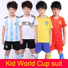 2018 new world cup kid short football jersey short sleeve suit top+short boy/girl