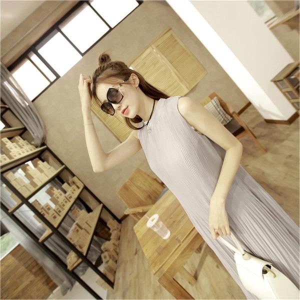 マスェル・プリーツワンピースnew ノースリーブ/トップワンピース/ワンピース/韓国ファッション