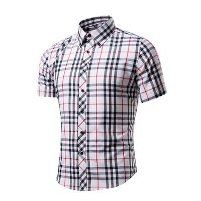 01a7537bb51a Men Plaid Check Shirts Short Sleeve Slim Fit T Shirt Stylish Summer Casual  Tops
