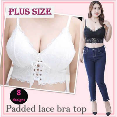 【PLUS SIZE lace padded bralette 】lace camisole/Wireless bra/ Sleeping bra/Yoga bra/ bra TOP