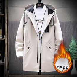 秋冬季中长款休闲风衣流行时尚男装夹克男加绒加厚外套