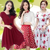 【NEW】Korean style Slim lace Chiffon dress/Plus size Dresses/Beach skirt/Bohemia/floral dress