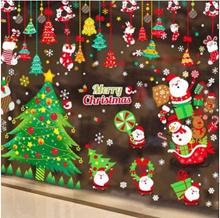 Christmas wall stickers shop window glass door stickers Christmas tree old window stickers