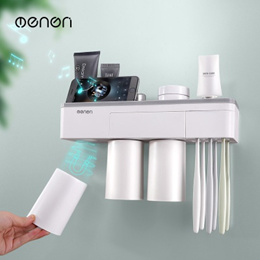 Magnetic Adsorption Toothbrush Holder Inverted Cup Wall Mount Bathroom Cleanser Storage Rack