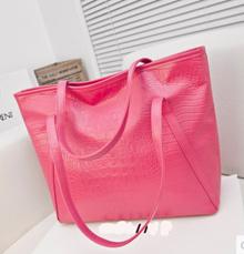 值的購買的獨家時尚手袋2014年新的大包鱷魚紋單肩包女士手提包潮百搭