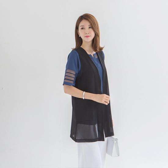 マダムグレースV20186ビエンチュモダンベスト ロング/ショールカラベスト/ 韓国ファッション