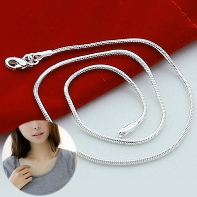b76bed03f500b Wholesale 925 Silver Silver Plated 5pcs 1mm Snake Chain Necklace 16-30 Nice