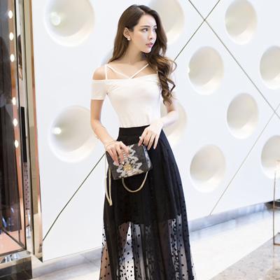 7d797b9934d7 Female fashion summer dress set 2018 new Korean Short Sleeved T-shirt  stitching chiffon dress