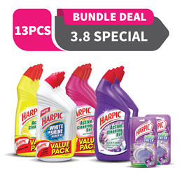 Harpic Toilet Cleaning Set! 9 x Harpic Cleaning Gel 500ML + 2 x Harpic Lavender 500ML + 2 x Nature