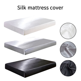 sale 3 Color Fitted Sheet Satin Silk Bed Mattress Cover Set King Size Smooth Soft Cool Bed Sheet Ela
