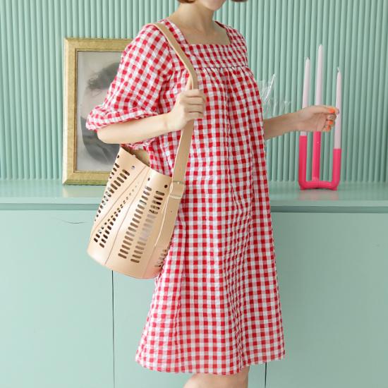 ミさんエラスワン高チェックの後の開けたこと、ワンピース プリントのワンピース/ 韓国ファッション
