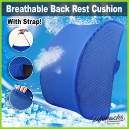 ★ Breathable Back Rest Cushion with Strap ★ Back Support Pain Relief at Home Office Car / Travel