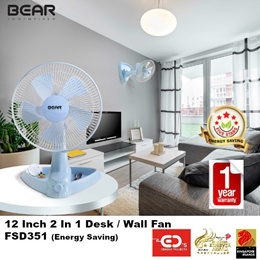 Bear Essentials Energy Saving 12 Inch 2 In 1 Desk / Wall Fan  - FSD351  (1 Year Warranty)