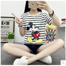 Summer new Korean version of BF wild wind loose round neck striped short-sleeved T-shirt female students was of thin shirt female tide