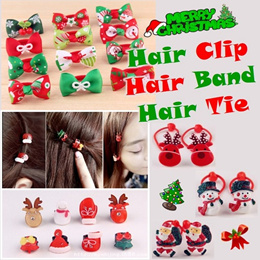 07 Christmas Hair Clip Accessories Band Tie Side Clip Children Child Infant Toddler Kids Girls