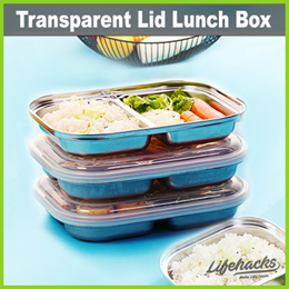★ Flat Lunch Box with Transparent Lid ★ 2/3/4 Compartments • Lunch Bento Box for School or Office